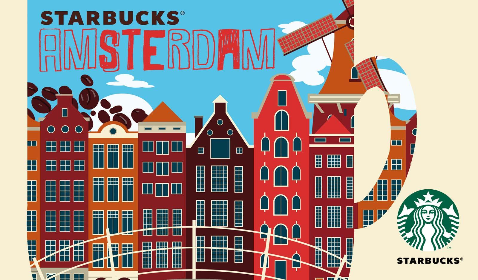 Illustratie nescafe Starbucks Amsterdam mok